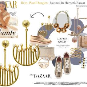 Retro Pearl Danglers featured in Harper's Bazaar November - 2016 issue